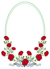 Oval frame with red roses. Vector clip art.