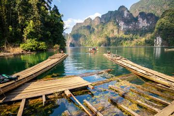 Bamboo rafting on river, ratchaprapha dam , Suratthani , Thailan