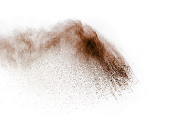 abstract powder splatted background,Freeze motion of white powder exploding/throwing brown powder