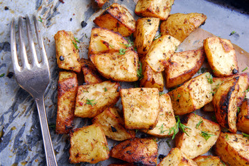roasted potatos and fork