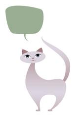 Cat cartoon style. Isolated. White Background. Speech Baloon