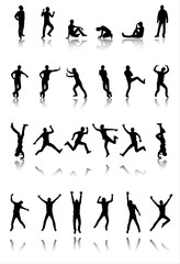 Set of 24 silhouettes