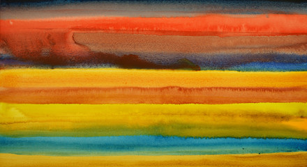 A watercolor painting with horizontal bands of color.