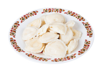 Ukrainian dumplings with cottage cheese on plate, isolated