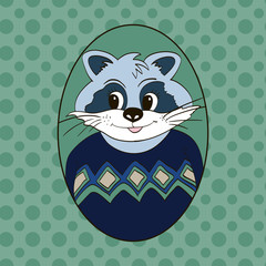 Raccoon in blue and green jersey. Picture for clothes, cards, children's books