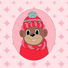 Monkey in a pink cap and scarf. Print for clothes, cards and children's books