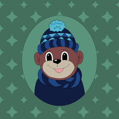 Monkey in a dark blue cap and scarf. Print for clothes, cards and children's books