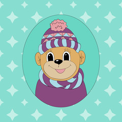 Monkey in a cap and scarf. Print for clothes, cards and children's books