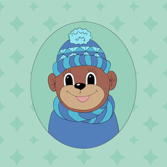 Monkey in a blue cap and scarf. Print for clothes, cards and children's books