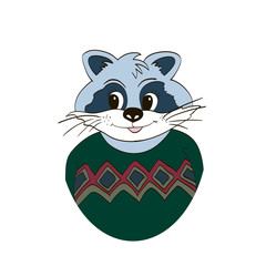 Raccoon in green jersey. Isolated. Picture for clothes, cards, children's books