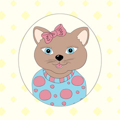 Cat with pink bow. Print for children's clothing, books, postcards