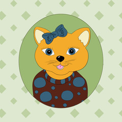 Cat with blue bow. Print for children's clothing, books, postcards
