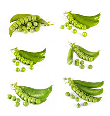 collection fresh green pea pod and peas, closeup on white background