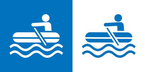 Icono plano bote hinchable azul