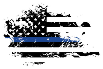 Abstract Police Support Flag Illustration
