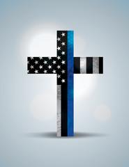 Christian Cross Law Enforcement Support Symbol