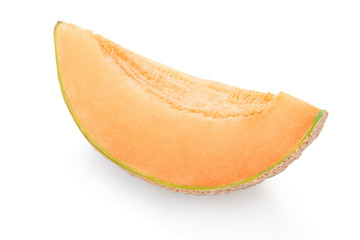 Cantaloupe melon slice isolated on white, clipping path