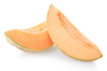Two cantaloupe melon slices isolated on white, clipping path