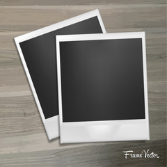 Photo frame lies on a wooden table. Template with shadow effect. Vector illustration