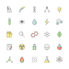 Medical and science vector outline colored icon set.