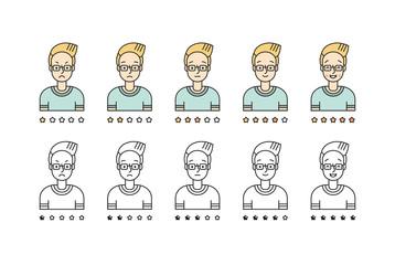 Blond man emoji vector set. Simple outline design.