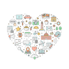 Blog colored heart illustration. Simple outline design.