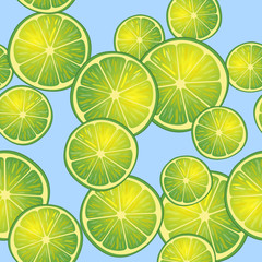 Vector illustration of lime slices on blue background in different angles. Pattern.