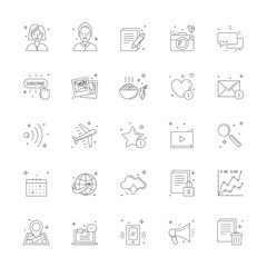 Blog icon set. Clean and simple outline design.