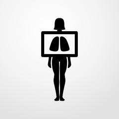 x ray of lungs icon. flat design