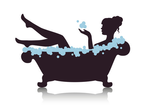 Silhouette elegant woman in the bath with foam