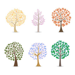 broad leaf tree illustration - brown, orange, purple, yellow, green leaves trees.