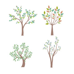 green tree illustration - green broad leaf trees, green and brown leaves.