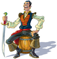 Vector Cartoon Arabian Sailor or Pirate Sitting on Barrel