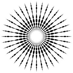 Circular motif element. Radial dotted lines with irregular profi