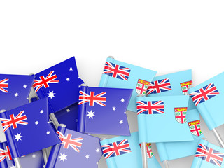 Flags of Australia and Fiji isolated on white