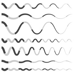 Set of various wavy, curved dashed line, stripe elements