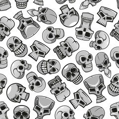 Skeleton skulls seamless pattern background