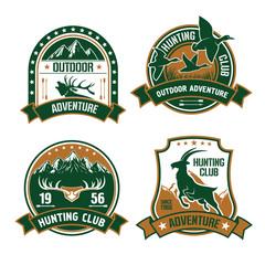 Hunting club shields icons set