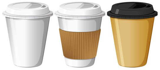 Three designs of paper cups