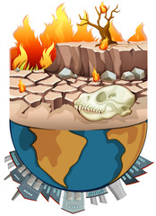 Polution on earth and drought