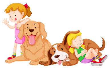 Two girls and two pet dogs