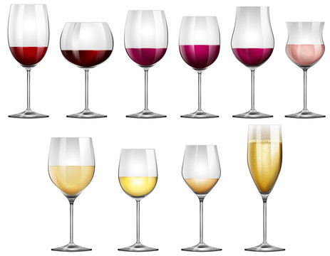 Wine glasses filled with red and white wine