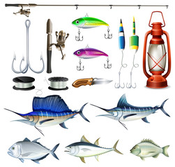 Fishing set with equipment and fish