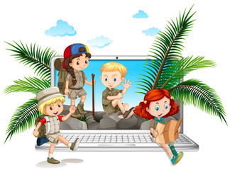 Children in safari outfit on computer screen