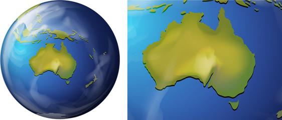 Australia map on the globe