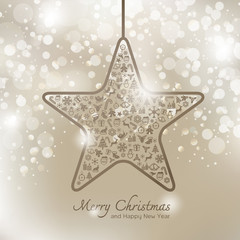 Christmas icons in star shape greeting card background