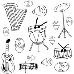 Doodle of music set collection