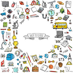 Hand drawn doodle Back to school icons set. Vector illustration. Cartoon. Educational elements: Laptop; Lunch box; Bag; Microscope; Telescope; Books; Pencil. Sketch bus
