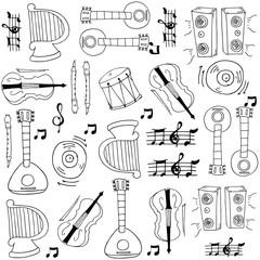 Music doodles set hand draw
