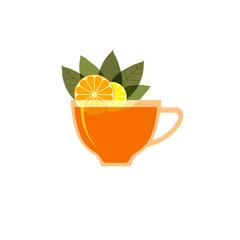 Рисунок на белом фоне чашки заваренного чая, листьев чая, апельсина.